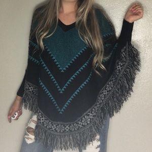 FANTASTIC FAWN • Blue/Black Fringe Poncho Sweater